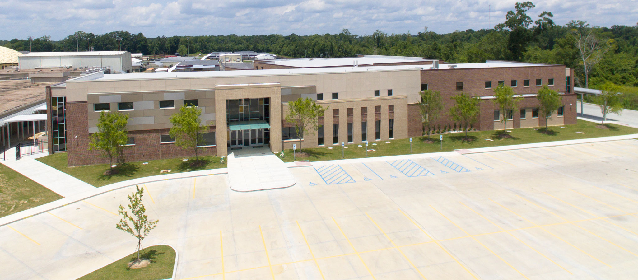 Aerial view of freshman academy and parking lot