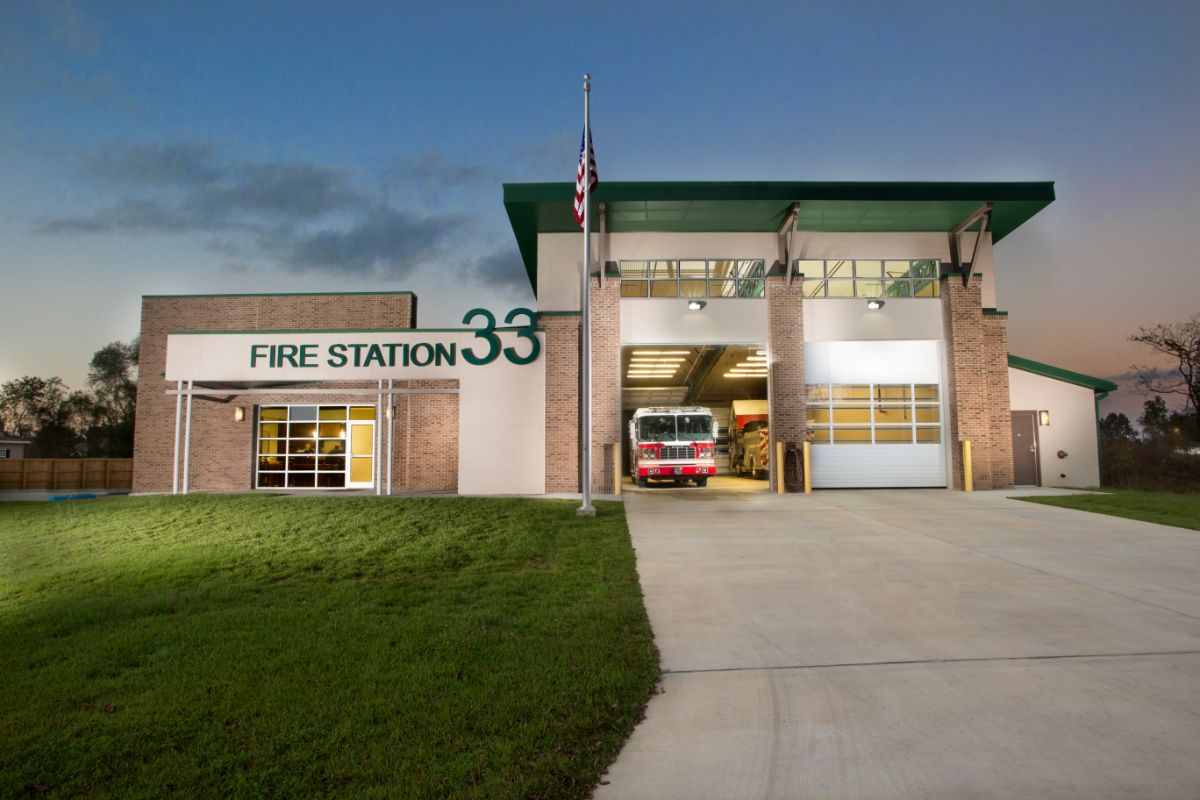 Exterior of Fire Station 33 with door rolled up