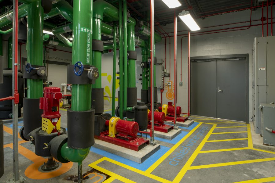 Brightly colored Mechanical room