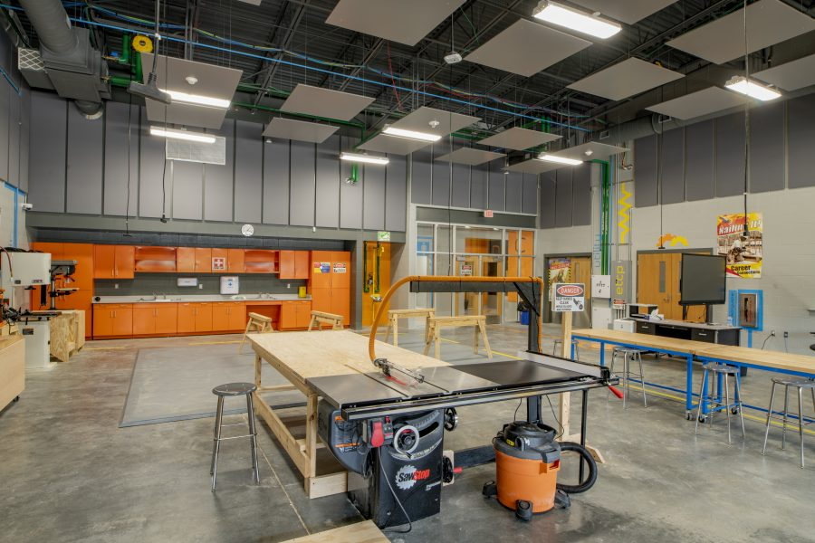 Woodworking shop with acoustical wall panels