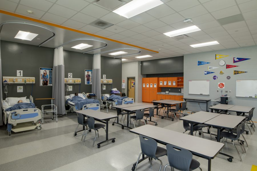 Health lab classroom with patient beds