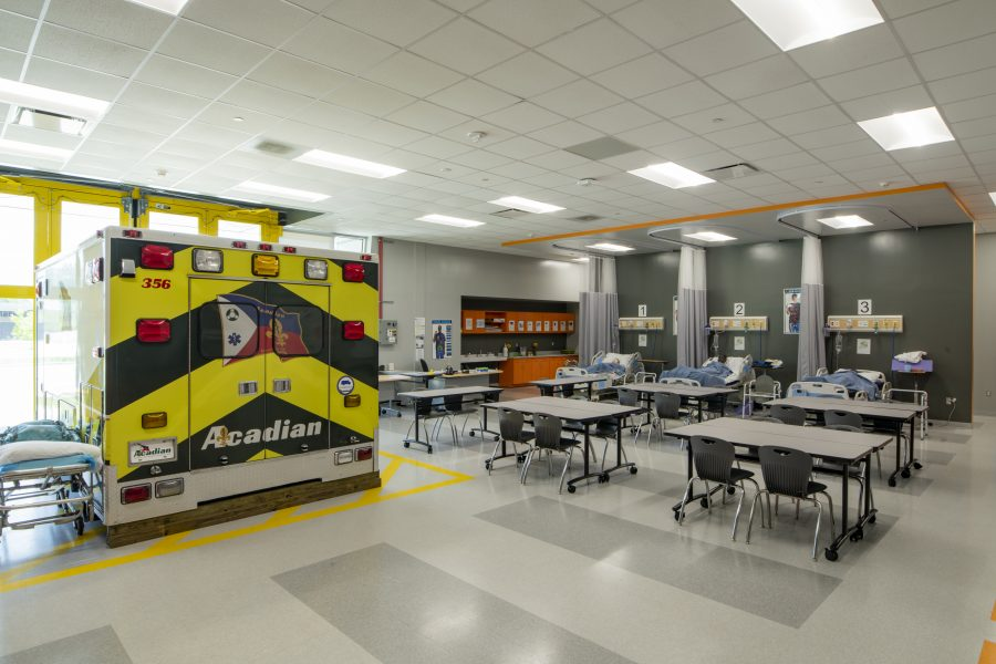 Health lab with ambulance simulation and patient beds