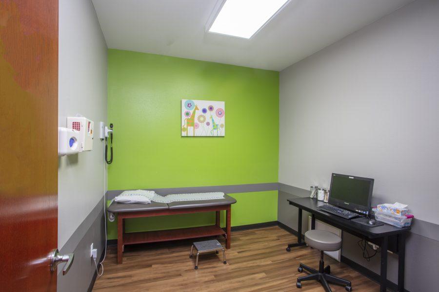 Bright exam room.