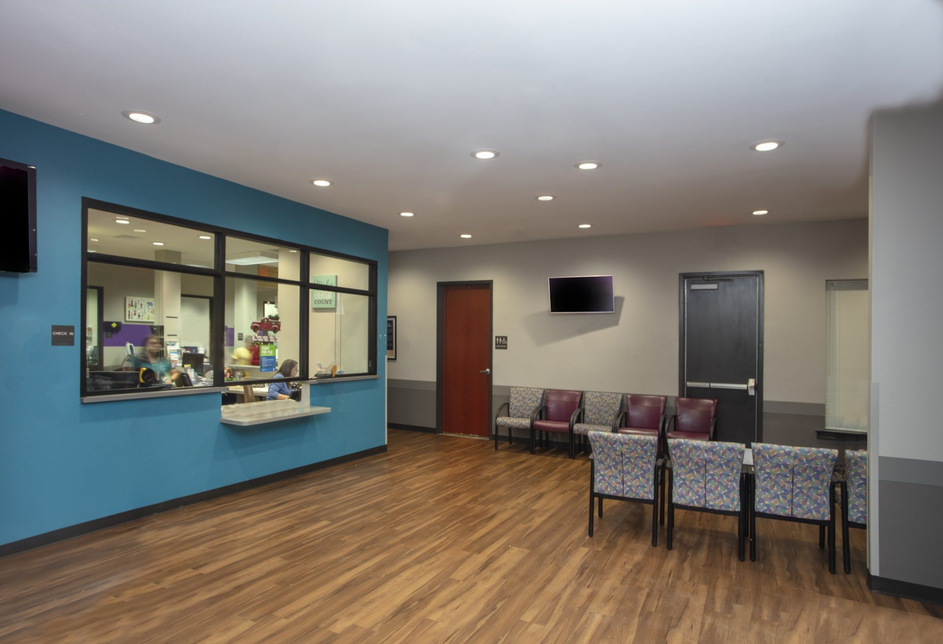 Waiting area at St. Elizabeth Pediatric Clinic.