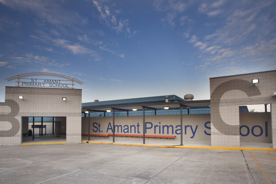 Exterior of St. Amant Primary School, drop off area.