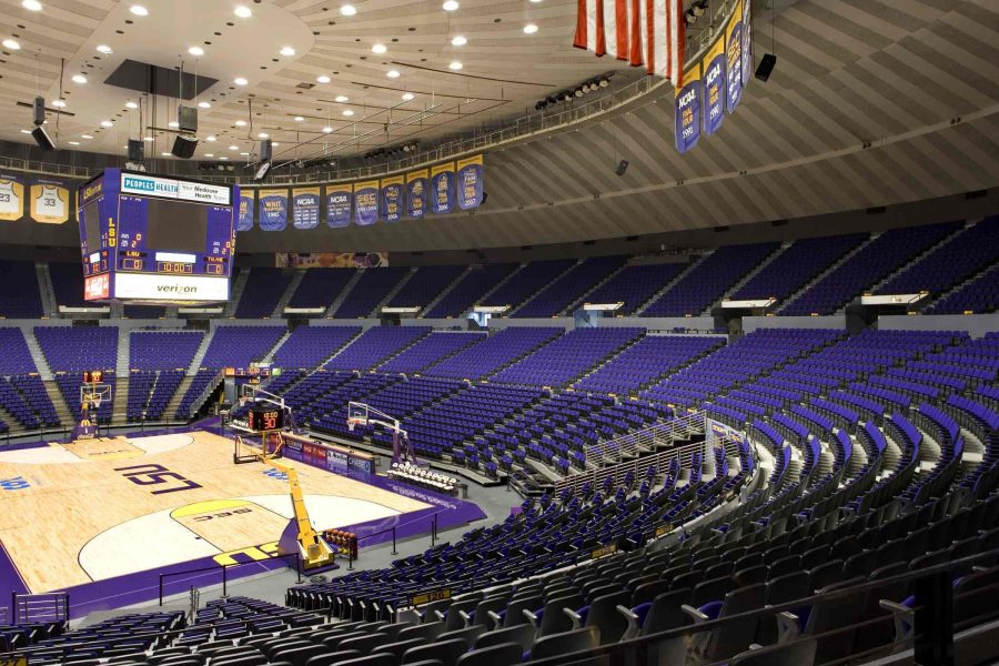 Pete Maravich Assembly Center full court view.