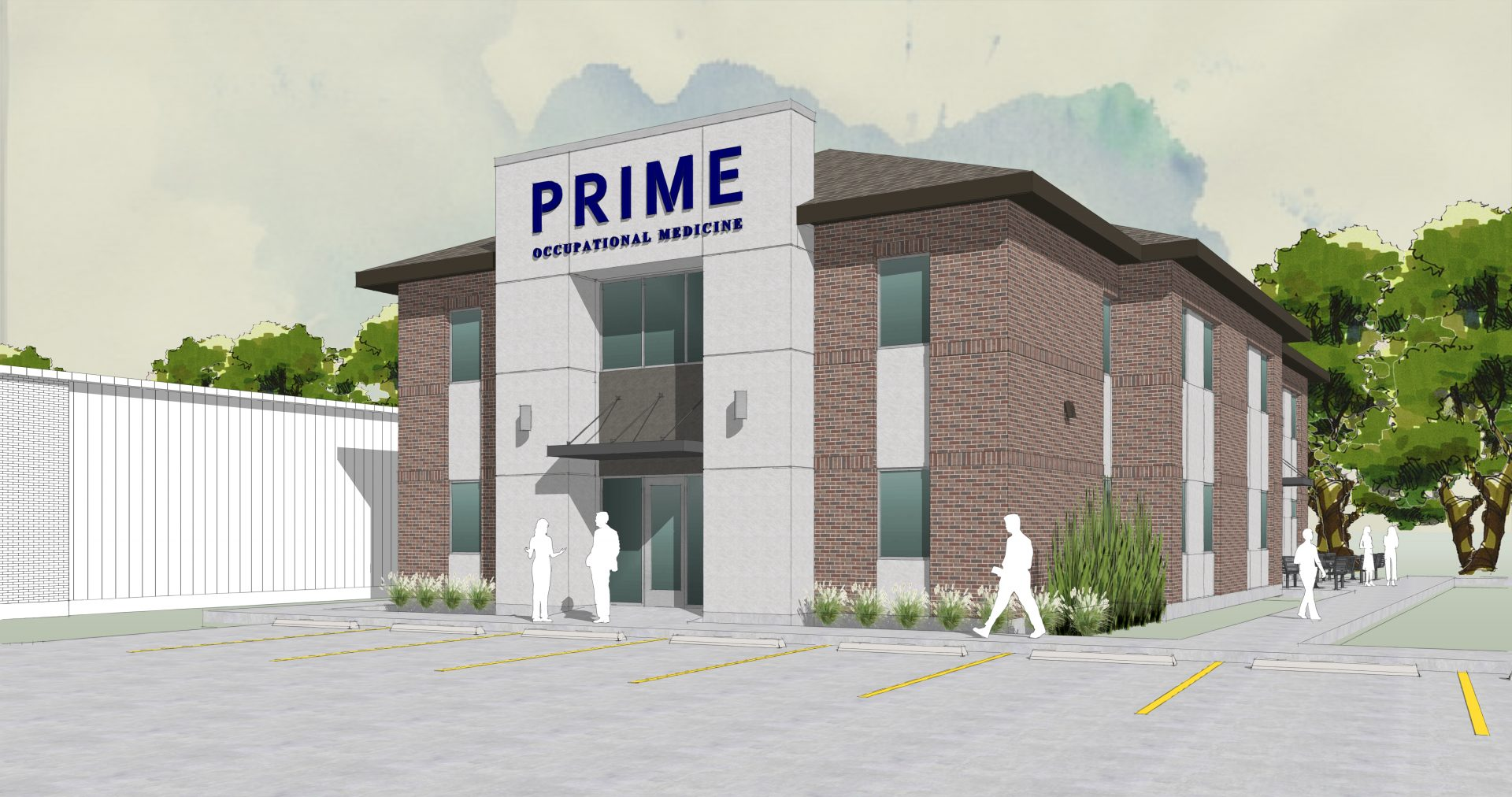 Rendering of brick and stucco exterior