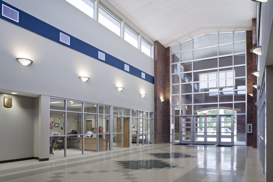 Lobby, designed with the school colors in mind.