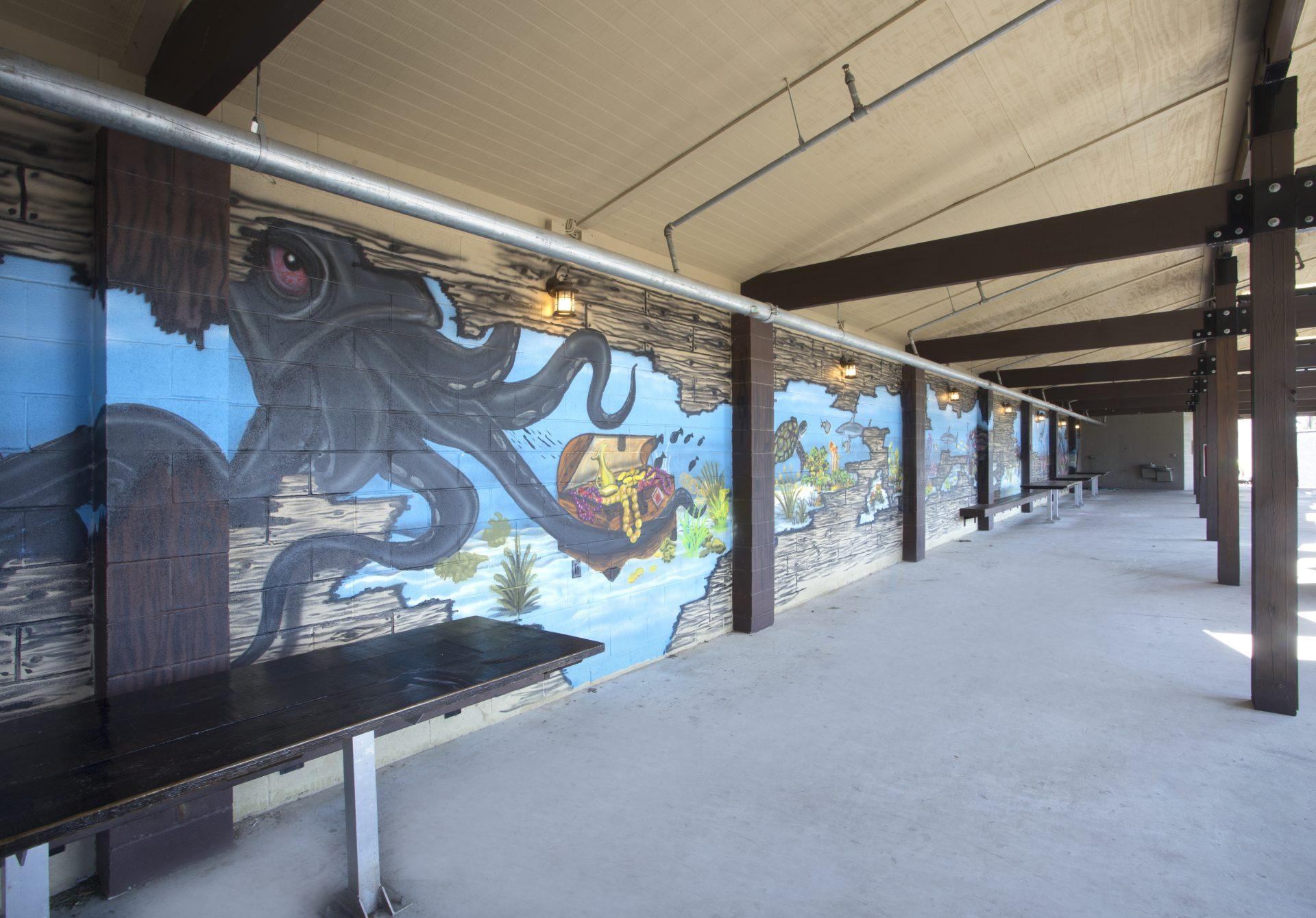 Sea-themed mural at Kidz Kove.