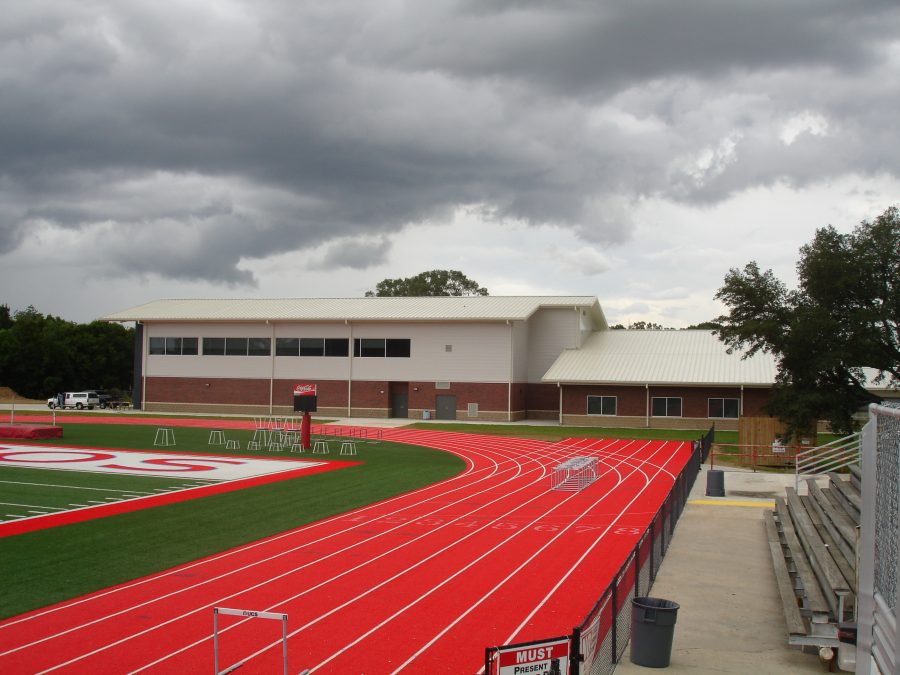 Field and athletic center.