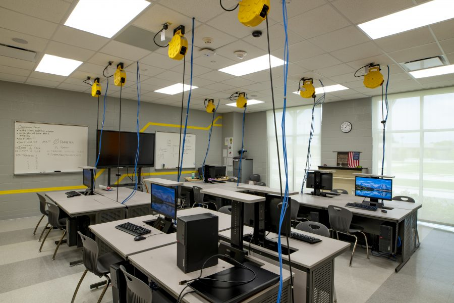 Computer classroom with ceiling cable management