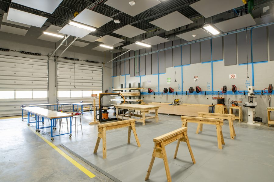 Woodworking shop with sawhorses