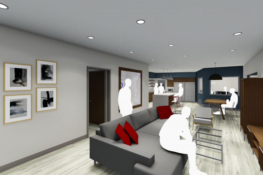 Rendering of living room at Fire Station 60