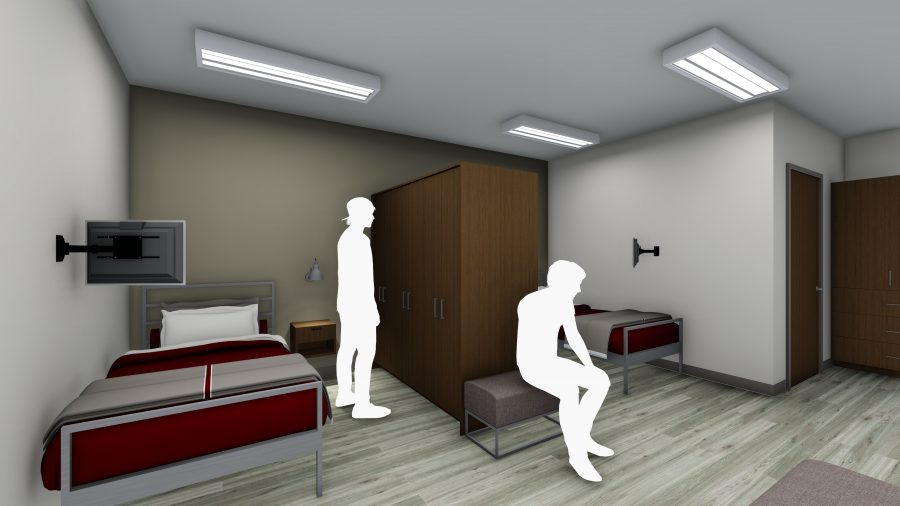 Rendering of dorm space at Fire Station 60