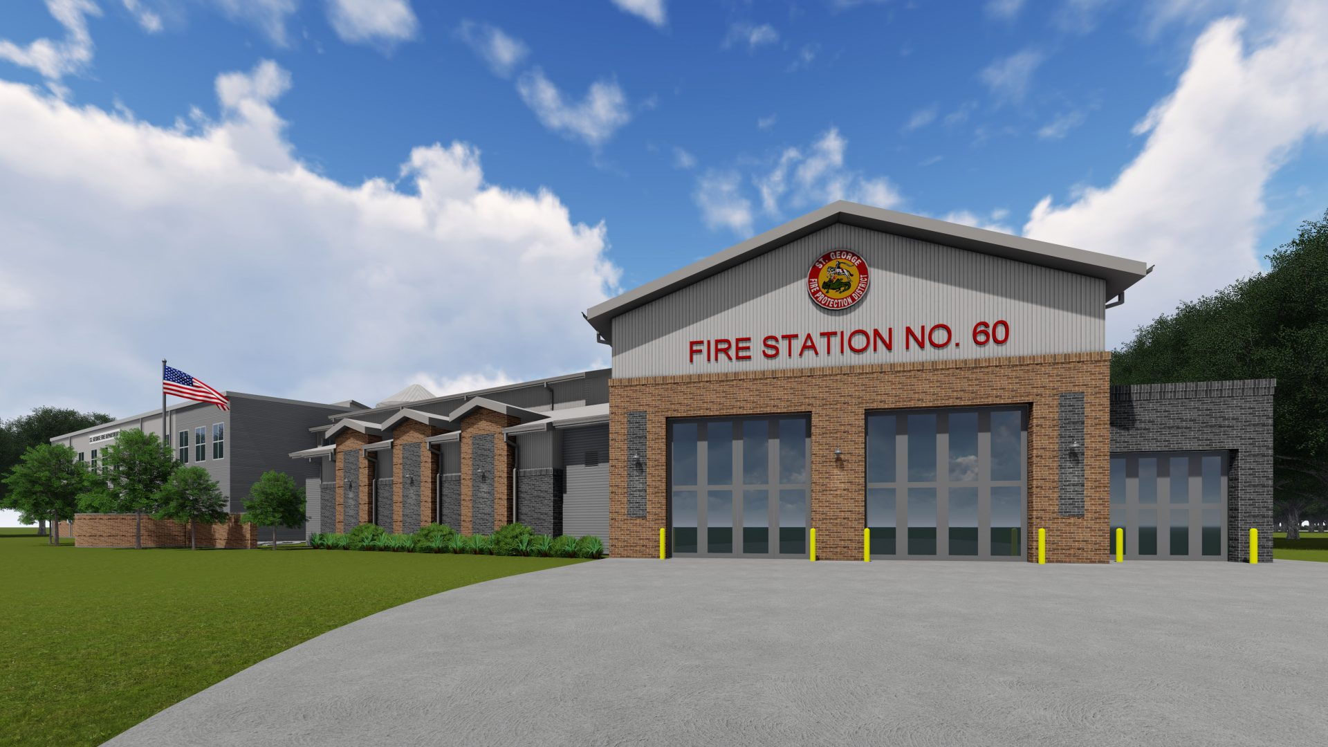 Rendering of exterior of Fire Station 60