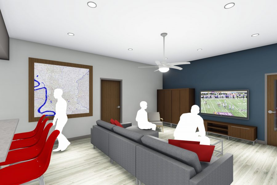 Rendering of living room at training facility