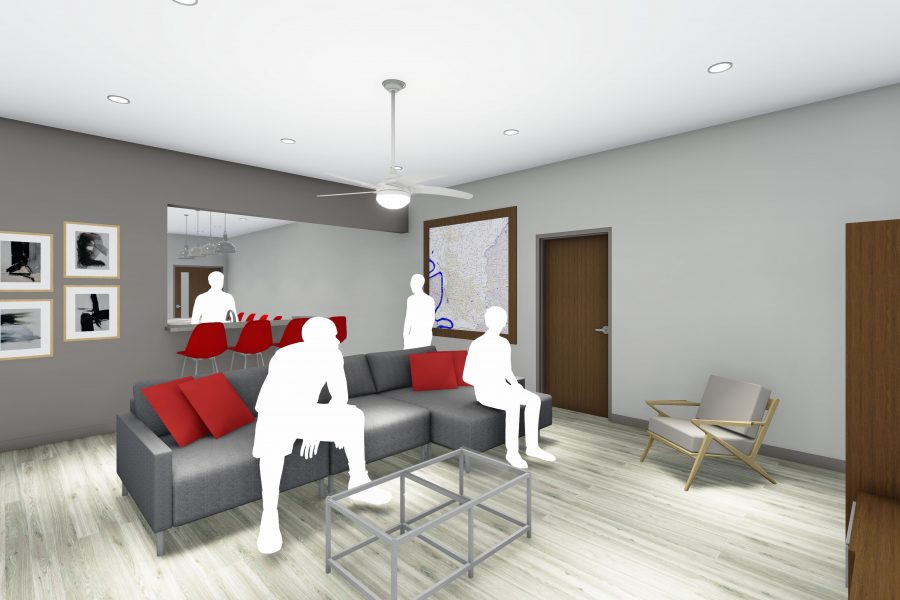 Rendering of lounging area at training facility