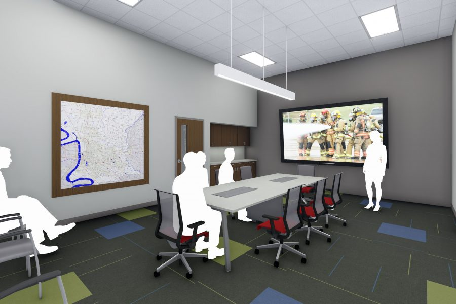 Rendering of small conference room.
