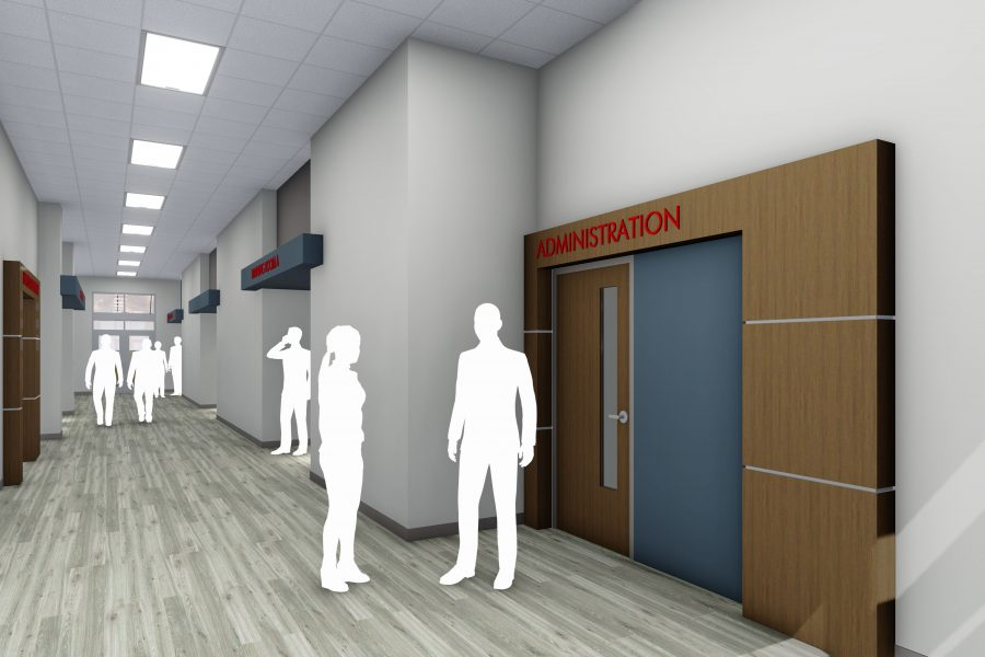 Rendering of hallway and entry to Administration wing