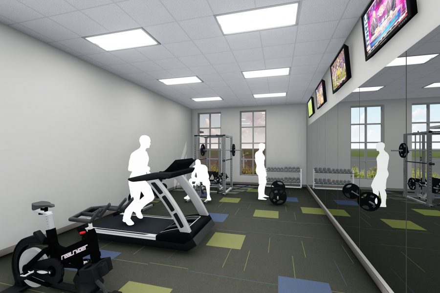Rendering of gym with equipment in training facility