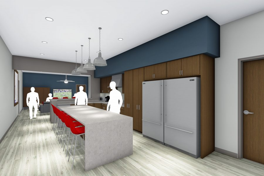Rendering of kitchen at training facility