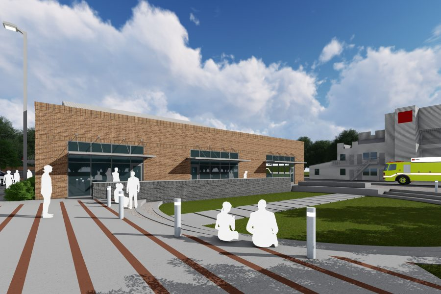 Rendering of outdoor seating behind training facility