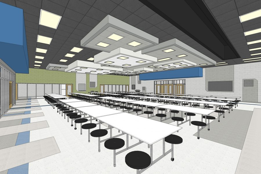 Sketch image of the cafeteria.