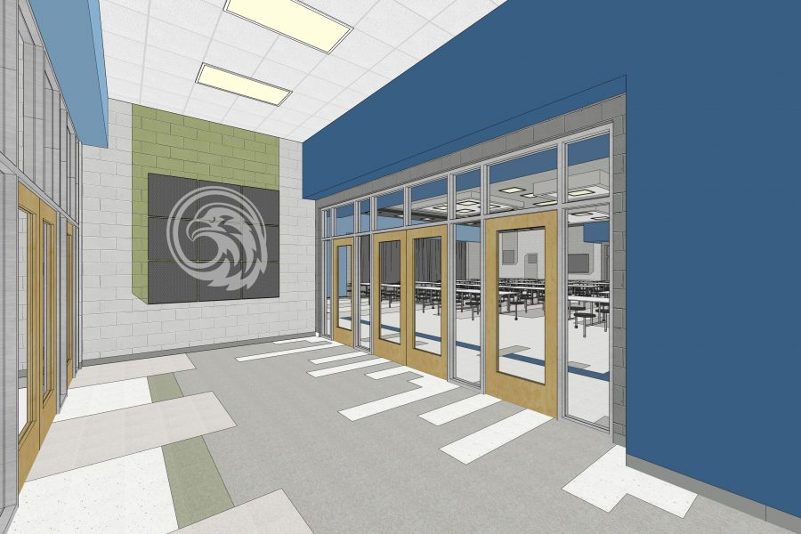 Sketch image of the cafeteria lobby.