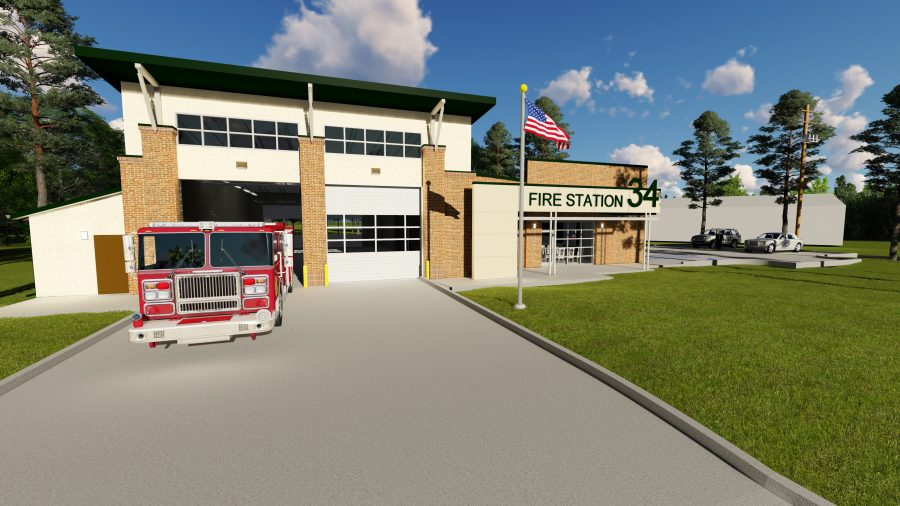Exterior of Fire Station #34 with truck.