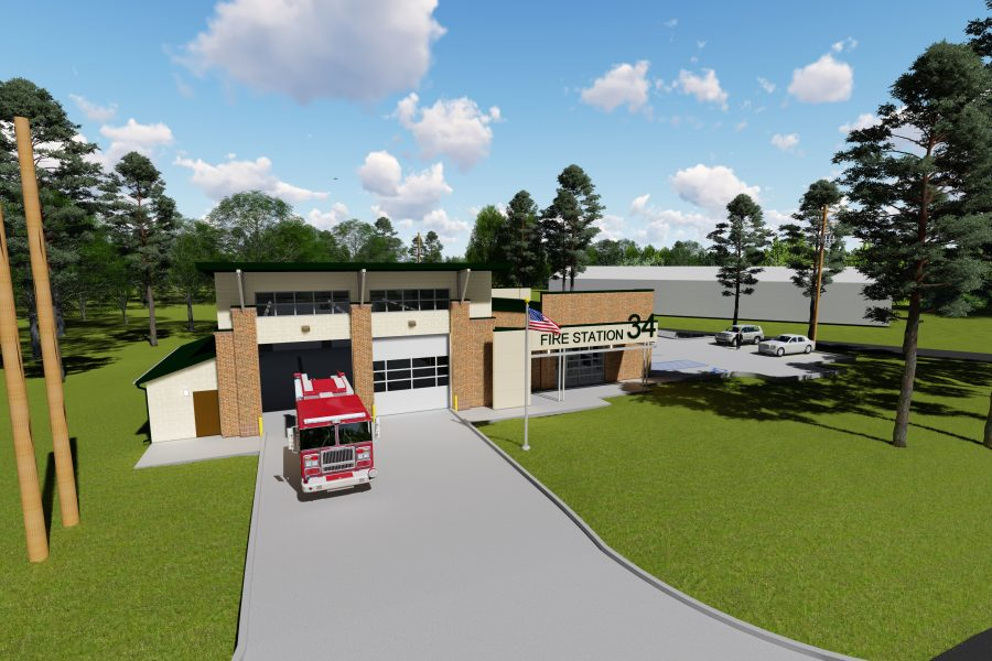 Aerial rendering of Fire Station #34
