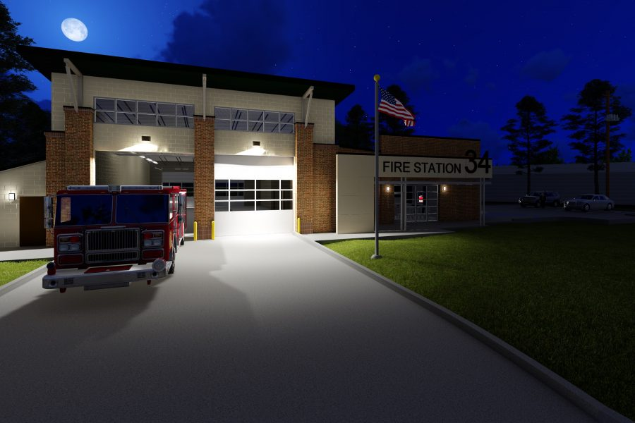 Rendering of Exterior of Fire Station #34 at night.