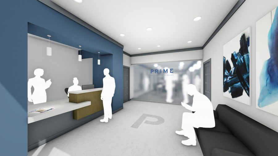 Rendering of reception with desk, lounge seating, and frosted glass