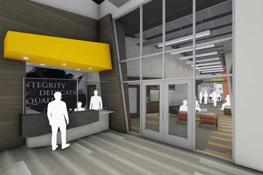 Rendering of the lobby with bright orange soffit at reception and large glass storefront wall
