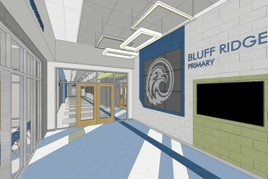 Rendering of main lobby with mascot wall graphics