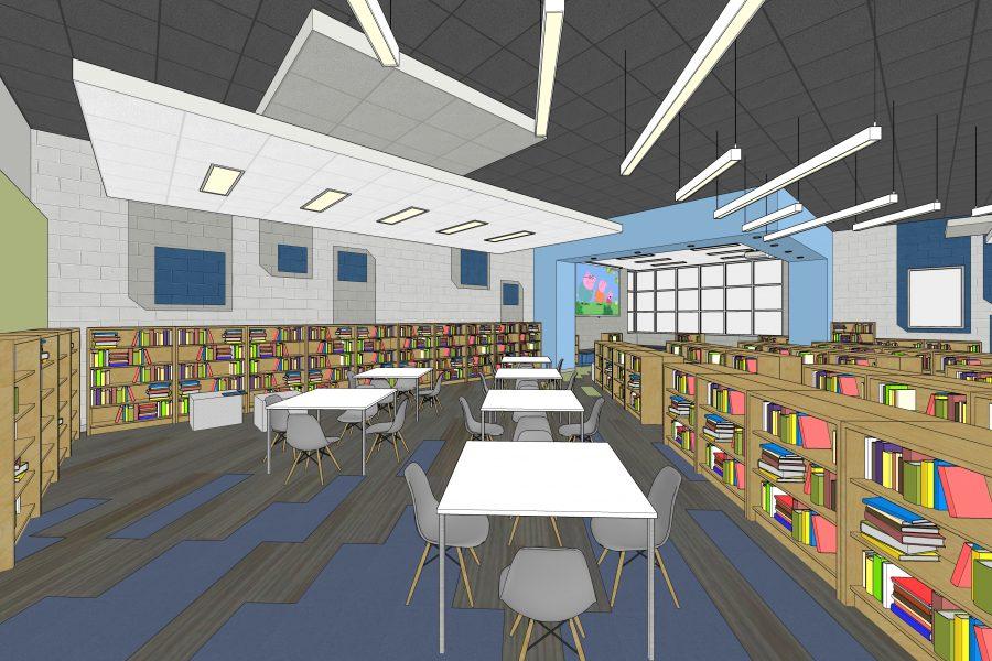 Media center rendering with desks and book shelves.