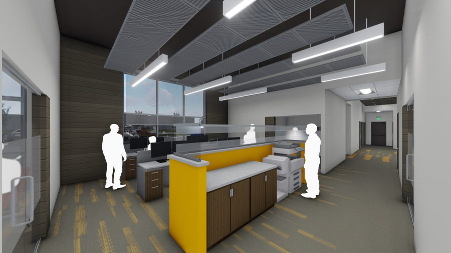 Rendering of open office cubicles with linear lights and orange accents