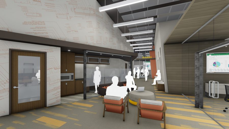 Rendering of touchdown meeting area with construction wall graphics and lounge seating