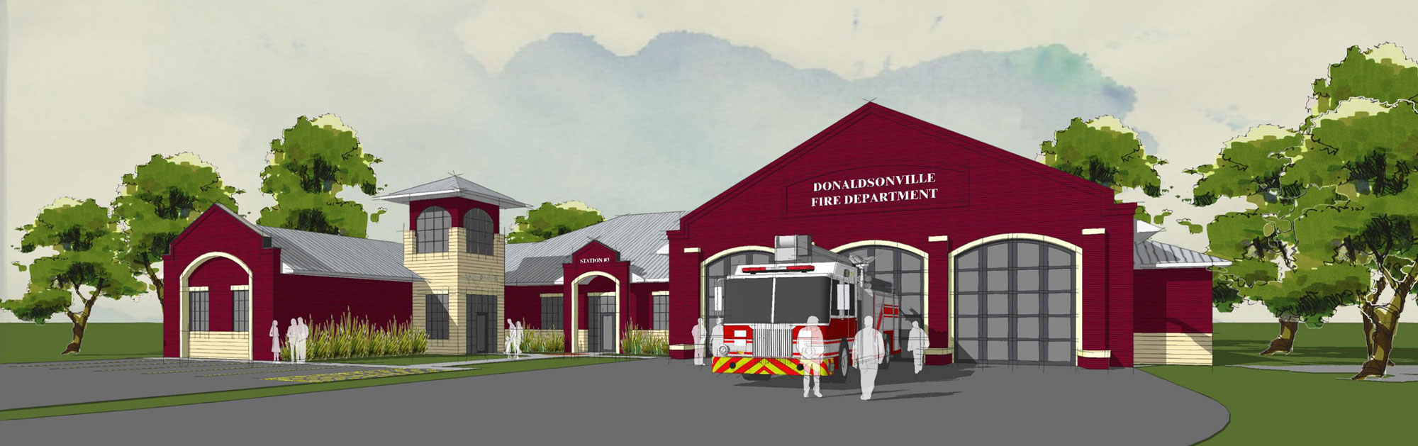Exterior rendering of Donaldsonville Fire Station
