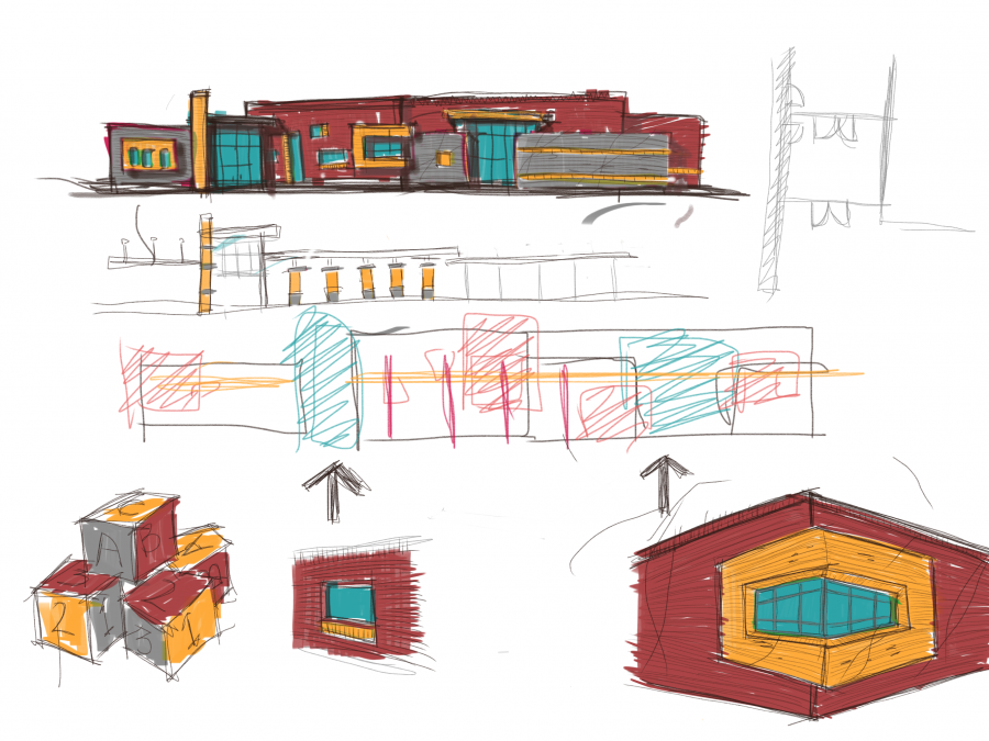 Sketch of plans for Bluff Ridge Primary.