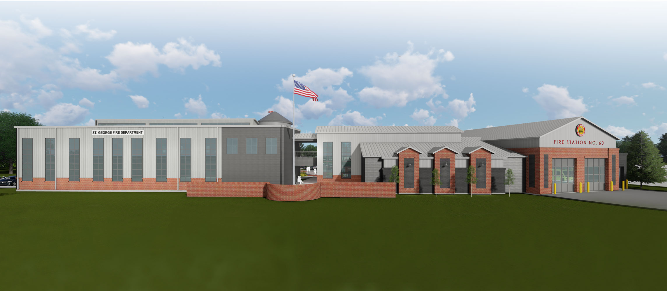 Street view rendering of St. George Fire Department Campus