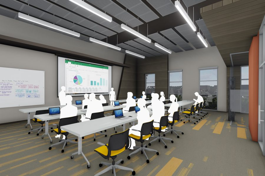 Rendering of training room with wood accents and linear carpet pattern