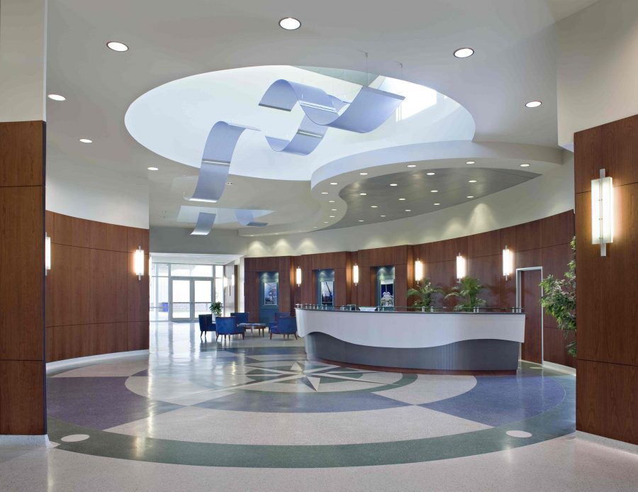 Lobby of Oceaneering featuring wave inspired architecture.