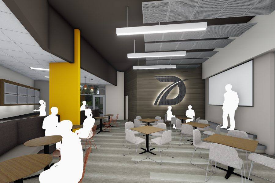 Rendering of bistro-style breakroom with metal panel ceiling clouds and bright accents